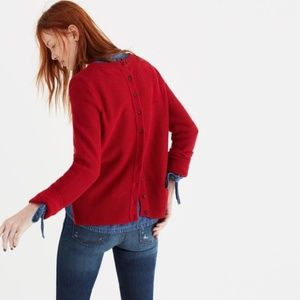 Madewell Medium Backroad Button Back Sweater Red